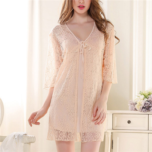 Brand 2 Pieces Nightgown Stain Robe Set Silk Sleep Lounge With Lace Gown Robe Women Sleepwear Housecoat Bathrobe Nightdress
