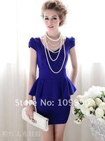 платье короткая, синий пр приталенный узкие темперамент рукав женщины идеальный сексуальный элегантный