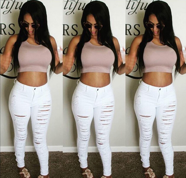 d08fb58d3d612 Sexy Big Holes Ripped Jeans Tassels Skinny High Waisted Pencil Pants Women  Trousers Black White Plus Size Womans Feminino-in Jeans from Women s  Clothing on ...