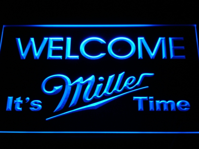 a206 It's Miller Time Welcome Bar LED Neon Sign with On/Off Switch 7 Colors to choose