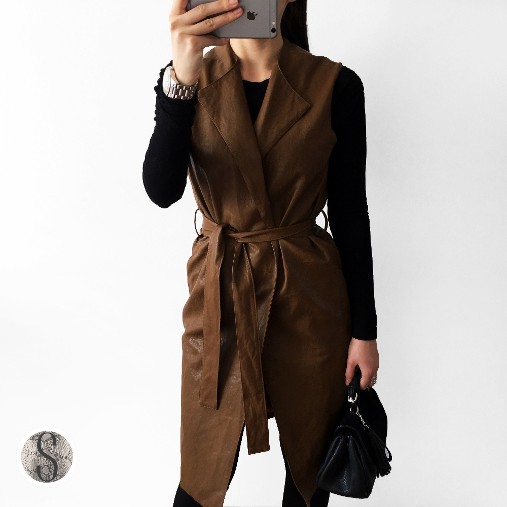2017 New Spring and Autumn Leather Suede Sleeveless Jackets Women Basic Coat Long Outerwear Clothing Female Slim Fashion Coats
