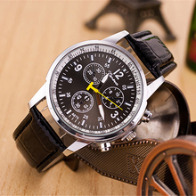 Men Fashion Faux Leather Strap Round Dial Analog Business Quartz Wrist Watch