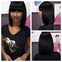 Silk Straight 7A Brazilian Full Lace Bob Wigs With Bangs Short Lace Front Human Hair Wigs Top Quality For African American Women