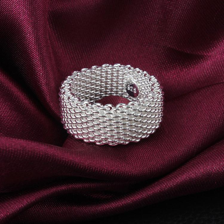 drop shipping Wholesale silver plated Ring,Fashion Jewelry,Mesh web net finger Ring 6 7 8 9 10 5 size  RING-0198