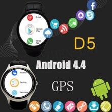 2016วงกลมใหม่d5/x3 smart watch android 4.4 wcdma 3กรัมs mart w atchกับwifi, gps, SIM BT4.0สำหรับiOSและA Ndroid H Eart Rate monitor