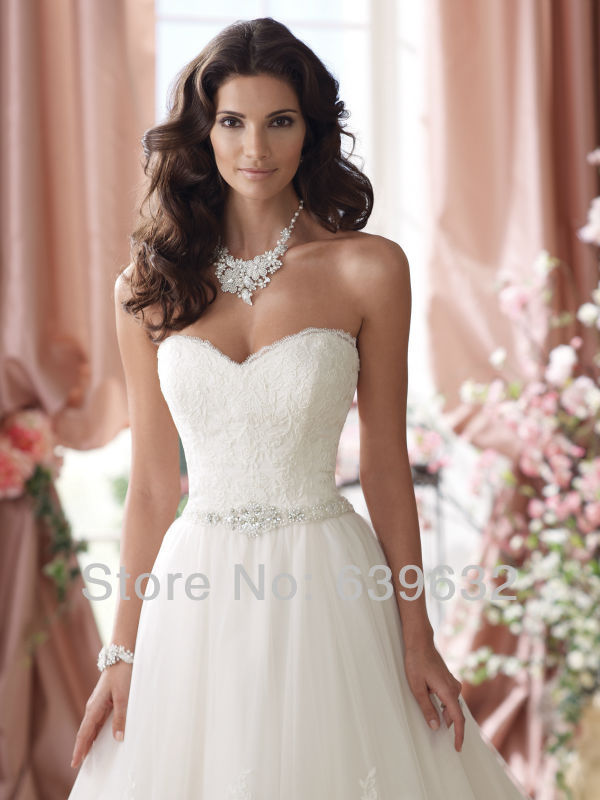 Sweetheart neckline strapless embroidered lace bodic tulle ball gown  crystal waistline chapel train davids bridal wedding dress. JW00055 JW00055  (1) ... 7932c746a3c0