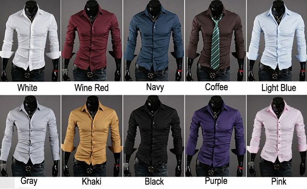 2014 Brand New Solid Color All Match Male Slim Casual Long Sleeve