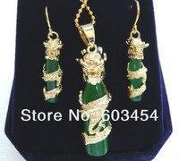 изумрудный джейд 18kgp дракон кулон серьги и ожерелье ювелирные наборы/бесплатная доставка