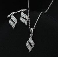 родием комплект ювелирных изделий ожерелье кулон + серьги # ss224 оптовая рождественский подарок женщины набор ювелирных