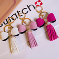 FREE SHIPPING! New Elegant  Fashion Trendy Bowknot PU leather Tassel Keychain Key Chain Ring For Women Bag Charms Accessories