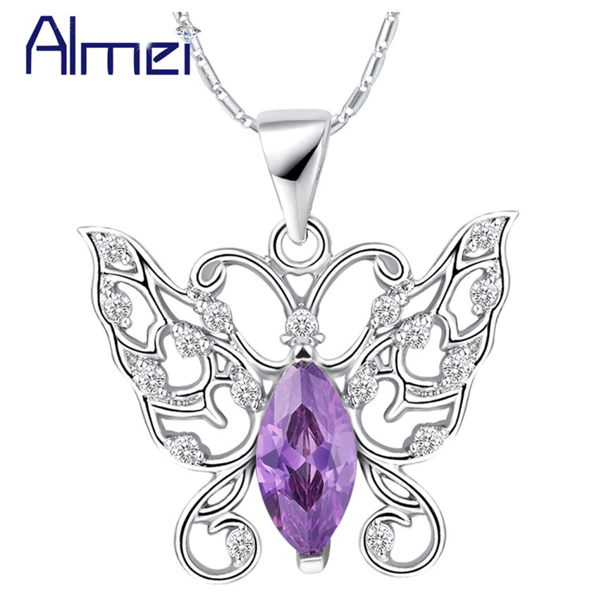 Almei Purple CZ Rhinestone Necklace Trendy Fashion Crystal Women's Accessories Girls Gift Cute Butterfly Pendant Collares N1039