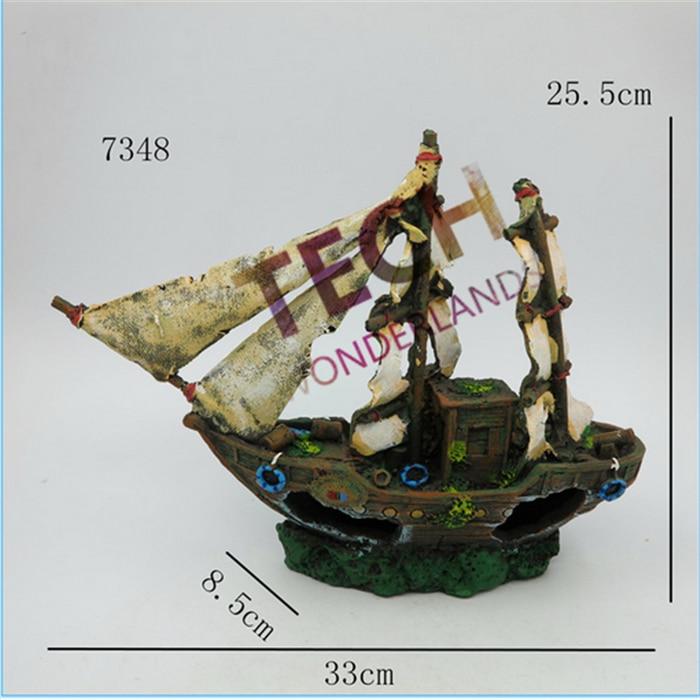 7348 Wreck Sunk Ship Aquarium Ornament Sailing Boat Destroyer Fish Tank Cave Decor
