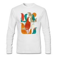 Fashion Print Men T Shits Them Birds New Style Long Sleeve O Neck Tee Shirts Organic