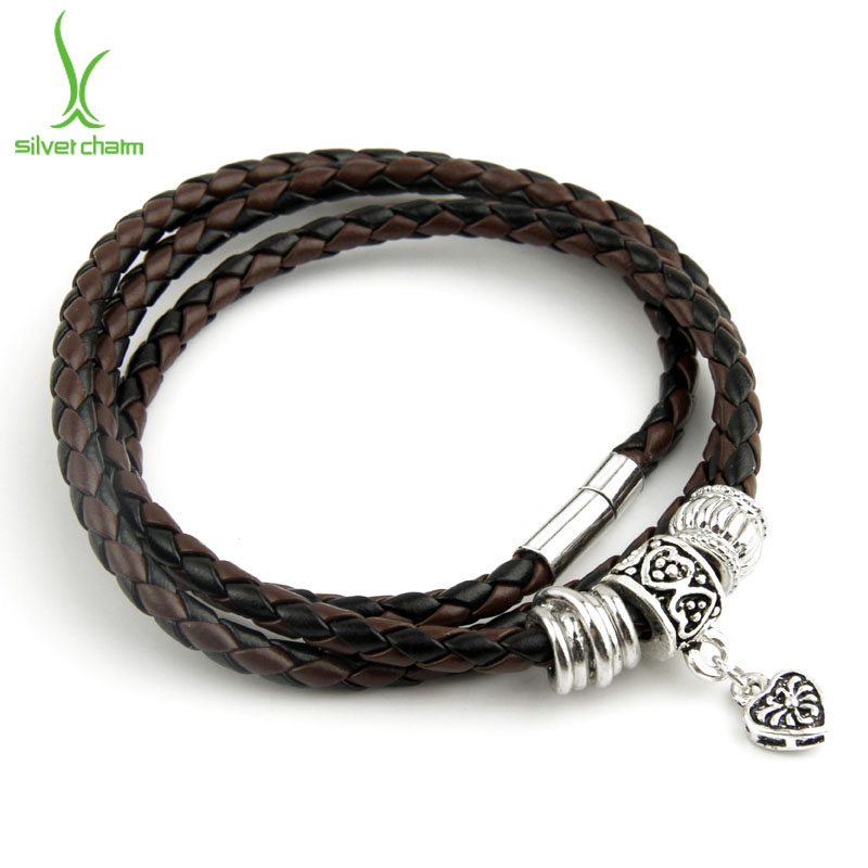 Newest Arrival Silver Charm Black Leather Bracelet for Women Five Colors Magnet Clasp Christmas Gift Jewelry PI0311 UT8dryAXiBXXXagOFbXU