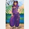 Принцесса Жасмин Костюм Взрослых Женщин Фиолетовый Карнавал Хэллоуин Костюмы Танец Живота Производительность Костюм Арабских