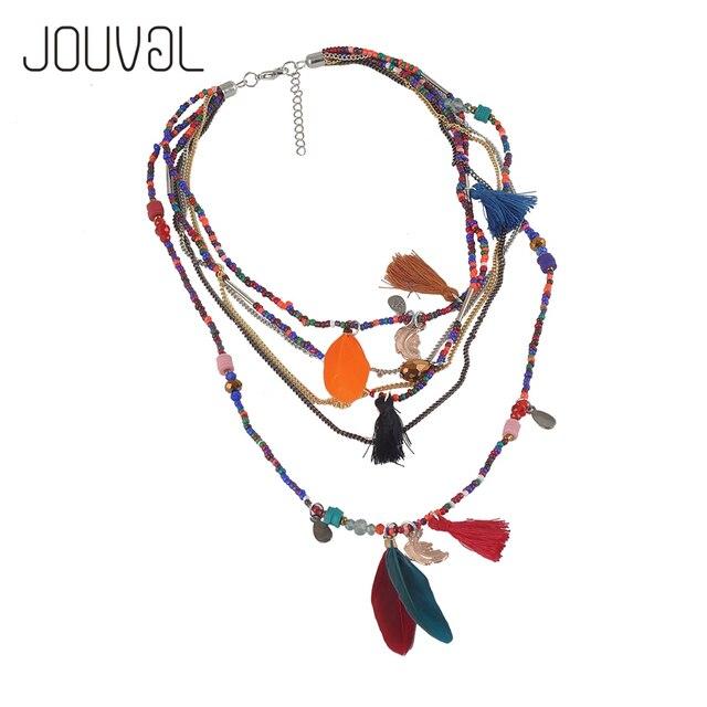 Ethnic Bohemian Gargantilha Colar Mulheres 2017 Multilayer Beads Pena Pingentes Declaração Collier Collares Maxi Bohemia Jóias