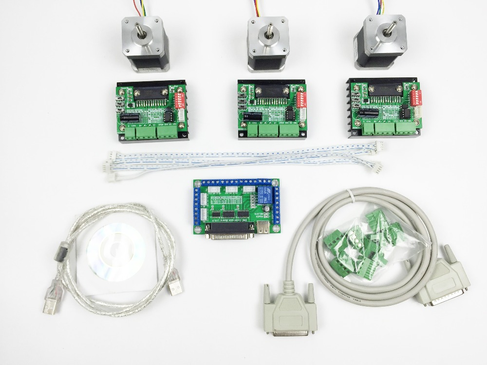 цена на Free Shipping CNC Router mach3 3 Axis Kit, 3pcs TB6560 driver + 5 axis stepper motor controller + 3pcs nema17 1.8A motor