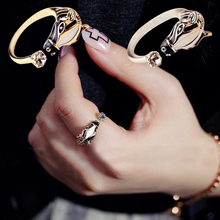 Index Finger Opening Ring Women Zebra Horse Head Adjustable