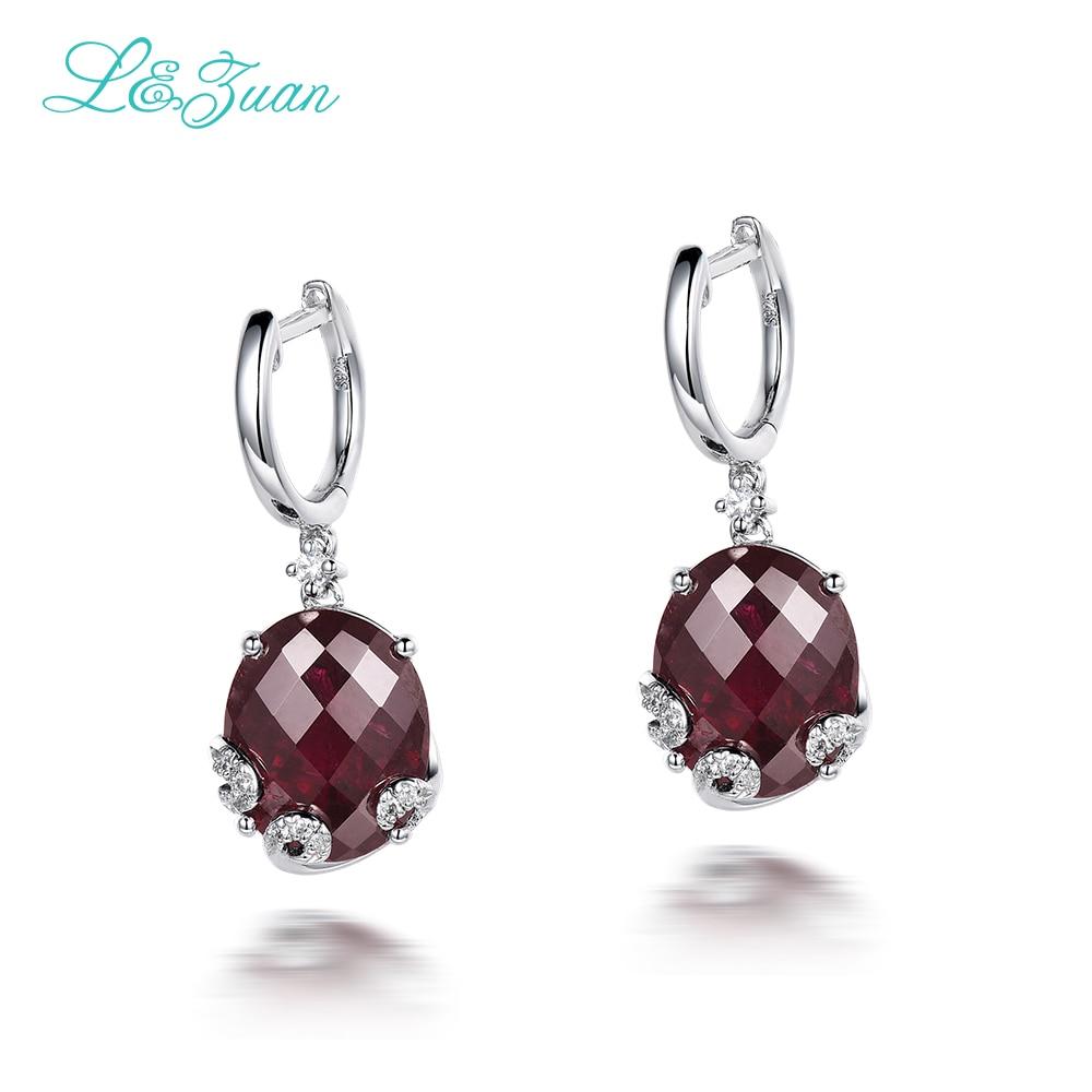 I & Zuan mode 925 Sterling-argent-bijoux 10.45ct naturel grenat pierre élégant Clip boucles d'oreilles pour femmes accessoires vente en gros