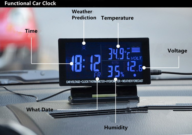 Car-Styling Vehicle-mounted Digital LED Thermometer/Voltmeter/Noctilucous Clock/Weather Prediction 12/24V 4 IN 1 Free Shipping