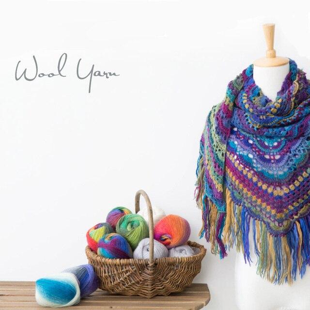 Grado superior 50g hermoso colorido lana Merino hilo para tejer a ...