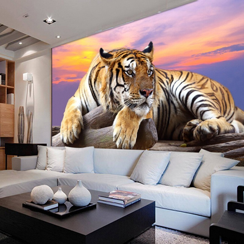 Beibehang Custom Wallpaper Home Decor Living Room Bedroom: Beibehang Custom Wallpaper Large Tiger Background Murals