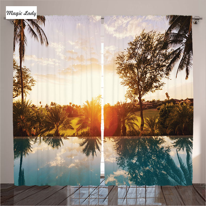 Orange Curtains Living Room Bedroom Home Swimming Pool Sunset Palms Villa Resort Offers Scenic Art 2 Panels Set 145*265 sm