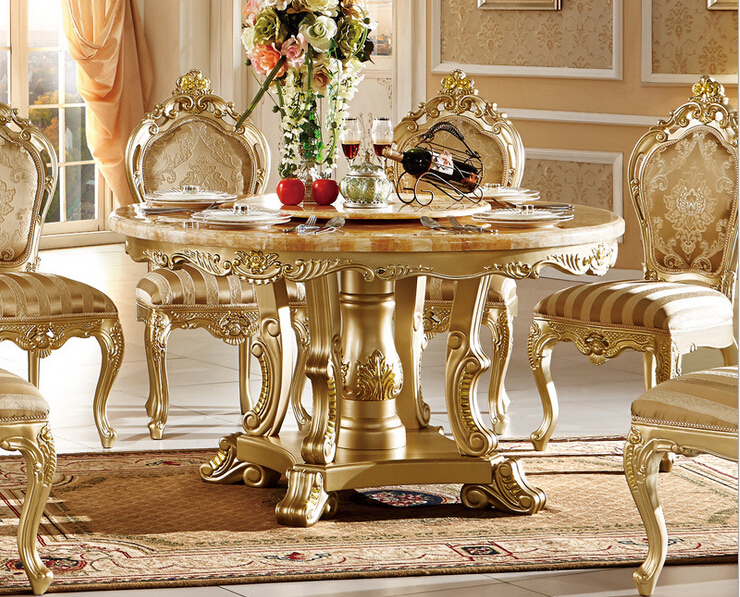 High Quality Unique Gold Color Classic Wooden Dinning Table And ChairsDining Room Furniture 0409 KT115