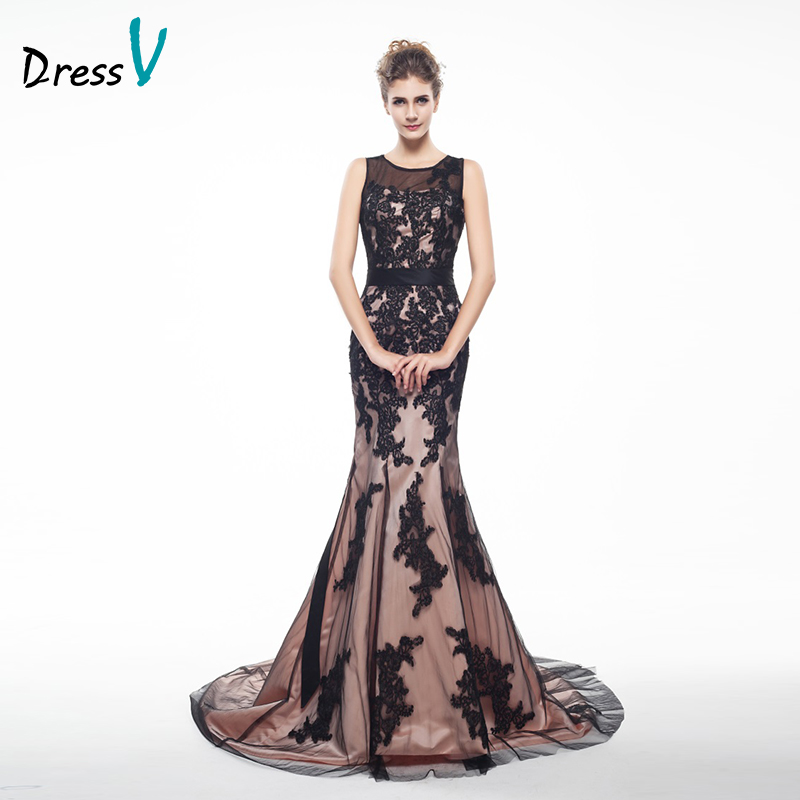 Elegant black lace mermaid long evening dresses scoop neck for How to dress up a black dress for a wedding