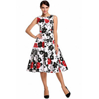 Womens Cocktail Dresses 2016 Floral Print Ink Painting Retro Vintage 50s Party Swing Rockabilly Dress Vestidos