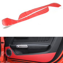 Fit For 2015 2016 Ford Mustang Car Interior Door Side Anti Kick Carbon Fiber Sticker Styling Cover Accessory 2pcs/set