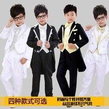 Petit garçon robe costume costume garçon enfants costumes noir et blanc smoking marié fleurs Tong Xiaoli service