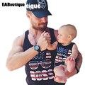 Лето Новая Мода Письмо Американский стиль марка дизайн хлопок семья посмотрите мальчик семьи отца майка розничная