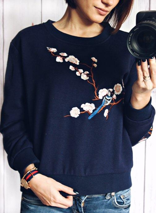 Синяя толстовка — свитшот с вышивкой в японском стиле с Алиэкспресс