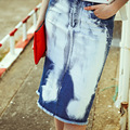 2016 Летние Новые Моды Джинсовые Юбки Чистого Хлопка Талии Мода Колен Печати Юбки Повседневная Женщины Свободные Топы MF9209