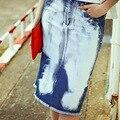 2016 Nueva Manera Del Verano Faldas de Mezclilla de Algodón Puro Manera de La Cintura Natural Longitud de La Rodilla Faldas de Impresión Casual Mujeres Sueltan Tops MF9209