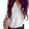 2016 Women Folds V-neck Roupas Femininas Loose Solid Chiffon Blouse