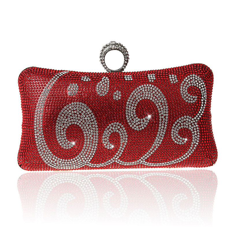Luxury Full Diamond Clutch Knuckle Rings Ladies Rhinestone Clouds Pattern Evening Bag Chain Clutch Purse Banquet