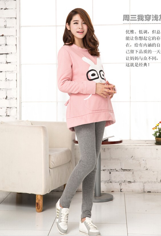 Women Clothing High Waist Leggings Maternity Clothes Winter Leggings Thickened With Velvet Pregnant Women Trousers Warm Pants 12