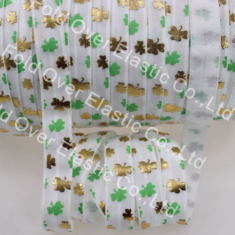 5/8gold foil & ink print FOE 50yards/lot St.Patricks Day for hair ties decorative accessaries