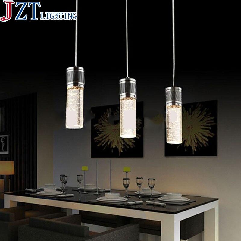 M meilleur prix moderne créatif bulle colonne cristal repas 3 tête LED cristal colonne café Bar pendentif LampAC 80-265 V D53xH90cm