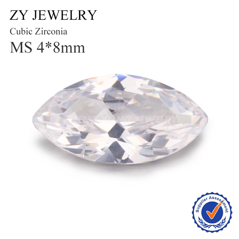 4 8mm Marquise Shape Machine Cut Synthetic White Cubic Zirconia Loose CZ Stones For Jewelry Making