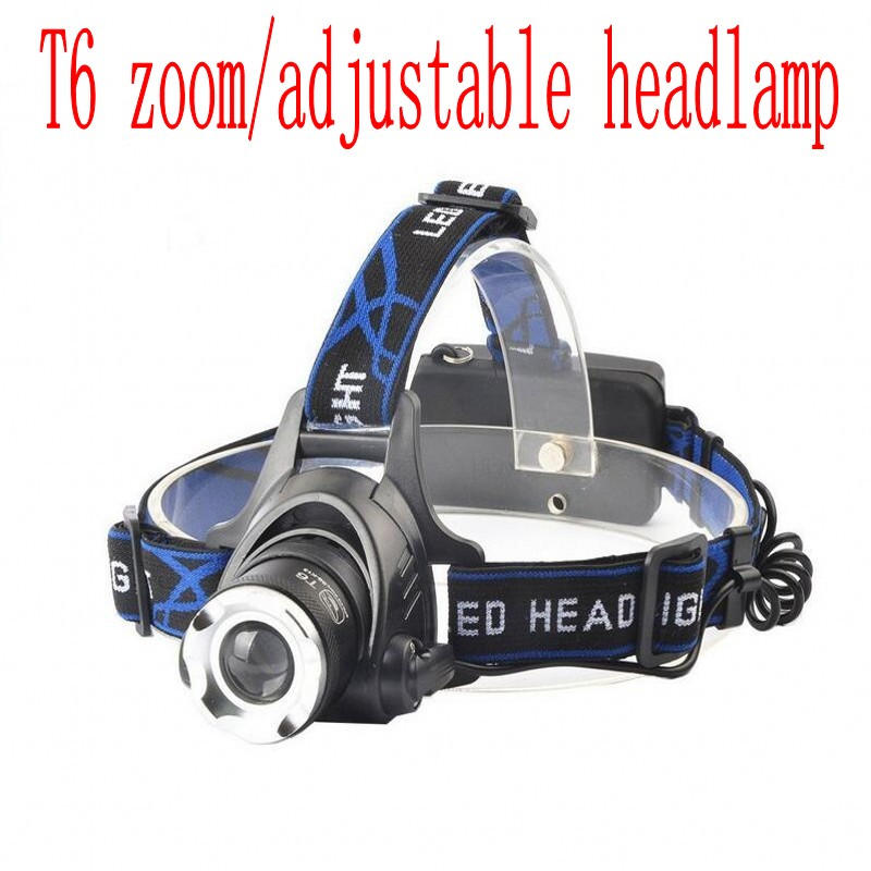 headlight led headlamp XML T6 waterproof zoom headlamp 18650 rechargeable battery flashlight adjustable head 3-mode torch Lights 1