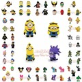 Lovely 2-5PCS Spongebob Kitty Mario Lego Avengers PVC Keychains Key Rings Necklaces Pendants,Mobile Phone Travel Accessories