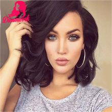 Fashion Black Women Brazilian Full Lace Human Hair Wigs Short 130% Density Virgin Human Hair Lace Front Wig Bleached Knots Stock