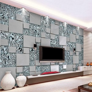 Custom photo wallpaper 3D stereoscopic mosaic cubes nonwoven fabric mural painting the living room TV wallpaper 3D Beibehang(China)
