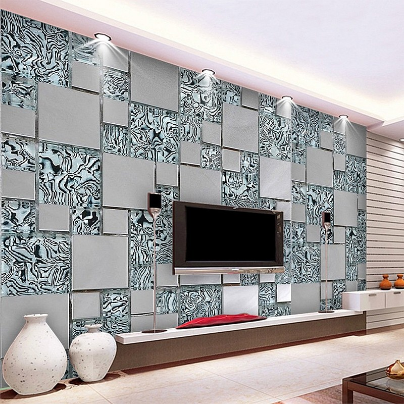 Custom photo wallpaper 3D stereoscopic mosaic cubes nonwoven fabric mural painting the living room TV wallpaper 3D Beibehang