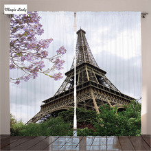 Curtains Bedroom Window Living Room Eiffel Natural Flowers Blossom Cloudy  Sky Paris Decor Gray Green 2