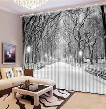 Photo Customize size blackout curtains for living room winter snow scenery curtains for window night scene(China)