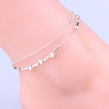 Drop Shipping Little Star Pentagram Silver Plated Anklets For Women Foot Decorative Chain Charming Jewelry Body-0293